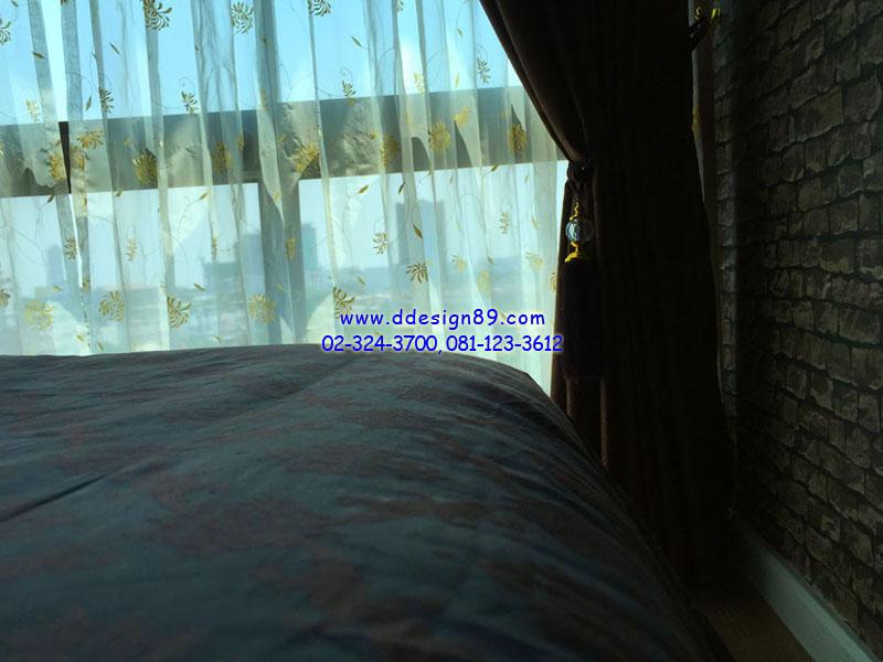 ติดม่านห้องนอน ติดผ้าม่านสีขาว ติดม่านบางมีลวดลาย แต่งหน้าต่างคอนโดสวย ที่ คอนโด life รัชดา