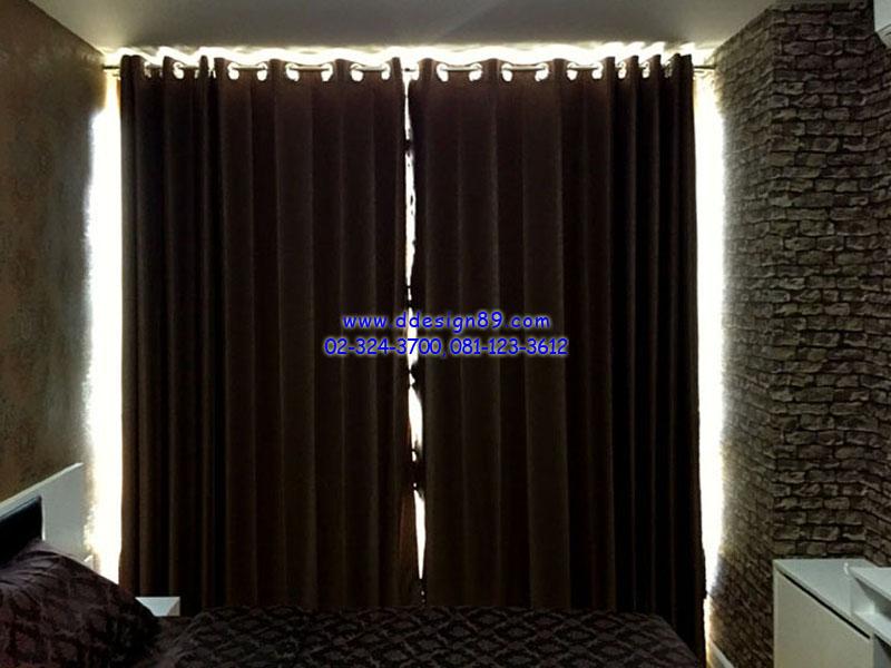ติดม่านทึบในห้องนอน ติดผ้าม่านสีขาว ติดม่านบางมีลวดลาย แต่งหน้าต่างคอนโดสวย ที่ คอนโด life รัชดา