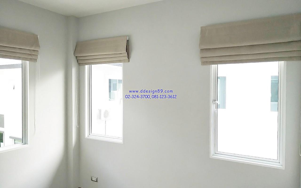 ม่านพับสีครีม ม่านพับติดตั้งหน้าต่างห้องนอน