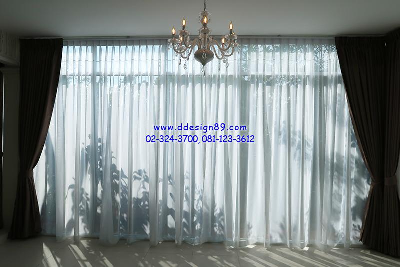 ติดผ้าม่านจีบโปร่งแสงภายในบ้าน ติดม่านสีเรียบหรู ม่านสีน้ำตาล