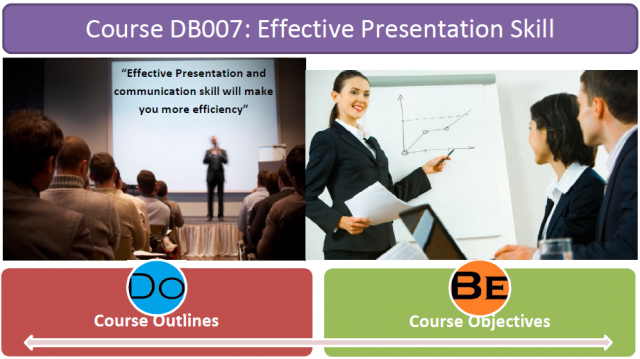 Learn how to make their presentation effectively, Able to apply 3 main areas of presentation guide; preparation, how to put the message over effectively, and dealing with nerves, Learn several presentation styles from each others, Practice and apply the skill to work