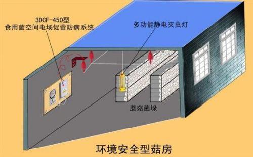 ภาพแสดงการติดตั้งชุดอุปกรณ์สร้างสนามไฟฟ้าในโรงเรือนเพาะเห็ด