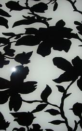 กระจกลายดอกไม้ ขาว-ดำ