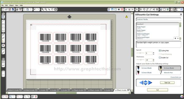 เครื่องตัดกระดาษ,Shilouette studio,โปรแกรมบาร์โค้ด