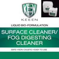 เพียงใช้ในขบวนการการทำความสะอาดทั่วไปแทนการใช้สารเคมี ผงซักฟอก ทั้งในขบวนการผลิต โรงอาหาร ห้องน้ำ ซึ่งน้ำเสียและสิ่งสกปรกจากขบวนการทำความสะอาดด้วย KEEEN จะถูกบำบัดตั้งแต่ต้นทาง ในระบบท่อ ไปจนถึง บ่อน้ำทิ้ง ทั้งที่มีระบบบำบัด และ ไม่มีระบบบำบัด โดยสารลดแรงตึงผิว Bio surfactance, เอนไซม์ (Enzymes) จะช่วยทำให้โมเลกุลของน้ำมัน ไขมัน แตกตัวมีโมเลกุลเล็กลง จากนั้น กลุ่มจุลินทรีย์สายพันธุ์เฉพาะของ KEEEN จะย่อยโมเลกุลน้ำมัน ไขมัน รวมไปถึง สารอินทรีย์ต่างๆ ทั้ง โปรตีน แป้ง เป็นอาหาร โดยขบวนการนี้จะใช้ระยะเวลาประมาณ 1-4 สัปดาห์ (กลุ่มจุลินทรีย์นี้จะทำงานได้เต็มประสิทธิภาพในระบบน้ำที่มีการเติมอากาศ)
