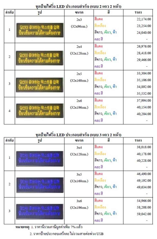 ป้ายไฟวิ่ง LED ภายในอาคาร_สีแดง,สีเหลือง,สีขาว,สีฟ้า,สีเขียว,คละสี