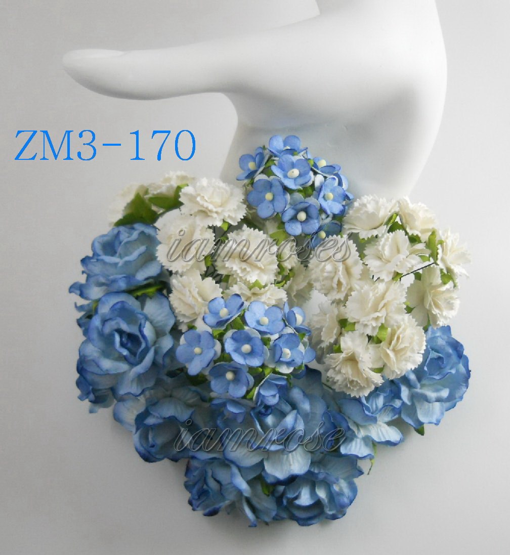 Mixed Baby Blue Roses White Carnation Mini Paper Flowers
