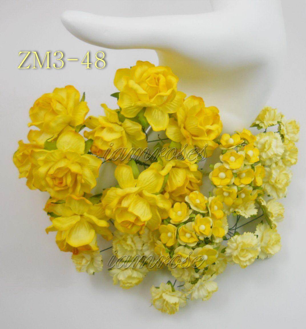 Mixed yellow roses carnation mini paper flowers zm 3 48 50 mixed yellow roses carnation mini paper flowers mightylinksfo