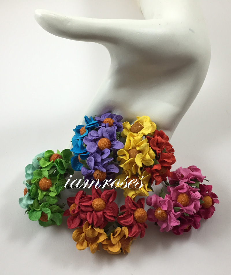 100 rainbow small curly paper craft flowers for Small flowers for crafts