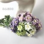 Mixed Purple / White / Green Color Paper Flowers