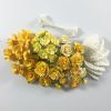 Mixed Yellow Mini Roses / Leave / Stamens Paper Flowers