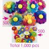 1,000 Random Mixed Rainbow & Batik Daisy Full Bloom Paper Flowers