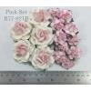 Mixed 3 Types Large and Small Paper Flowers Pink Shade