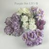 30 Mixed 5 sizes Purple Tone / White Roses Lily Peony Paper Flowers