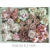 37 Mixed 9 Designs Paper Flowers Mixed Pink Shade