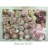40 Mixed 11 Designs Paper Flowers Mixed Cream White Pink Shade