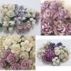 4 Sets DIY Purple White Tone Paper Flowers