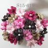 Mixed Pink Brown Small Spring Cottage Paper Flowers