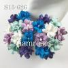 Mixed Purple Blue Small Spring Cottage Paper Flowers