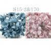 Mixed JUST Baby Blue - Soft Pink Small Spring Cottage Paper Flowers