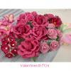 45 Mixed Pink Handmade Crafts Paper Flowers and Leaf