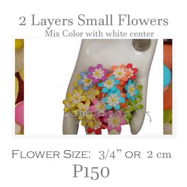 2 Layers Small Flat Flowers - Color with White Center P150