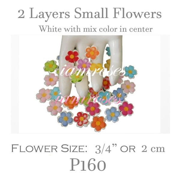 2 Layers Small Flat Flowers - White withMix  Color Center P160