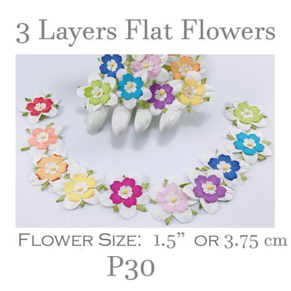 3 Layers Flat Flowers - White with Mixed Color Center - P30