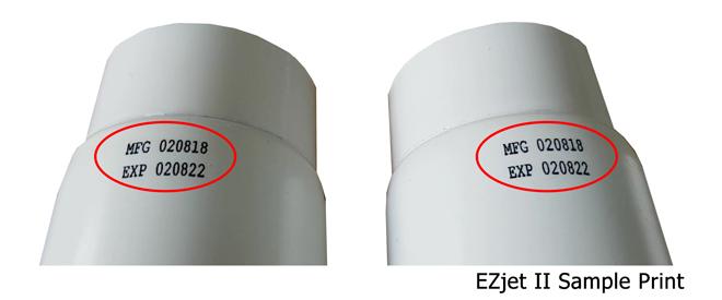 ตัวอย่างการพิมพ์ด้วยเครื่องพิมพ์วันที่ผลิตอิงค์เจ็ท EZjet II