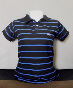 Stripe Black Women's Polo Shirts