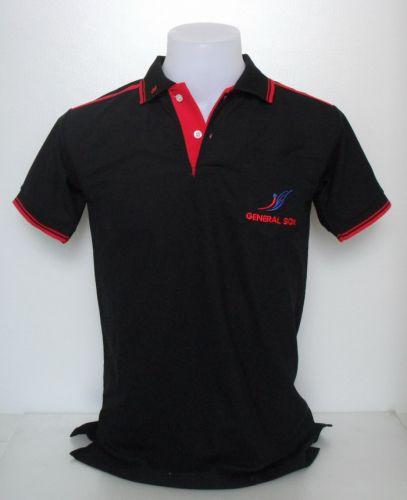 เสื้อโปโล สีดำตกแต่งสีแดง
