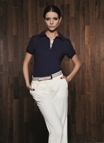 women polo shirt with slacks