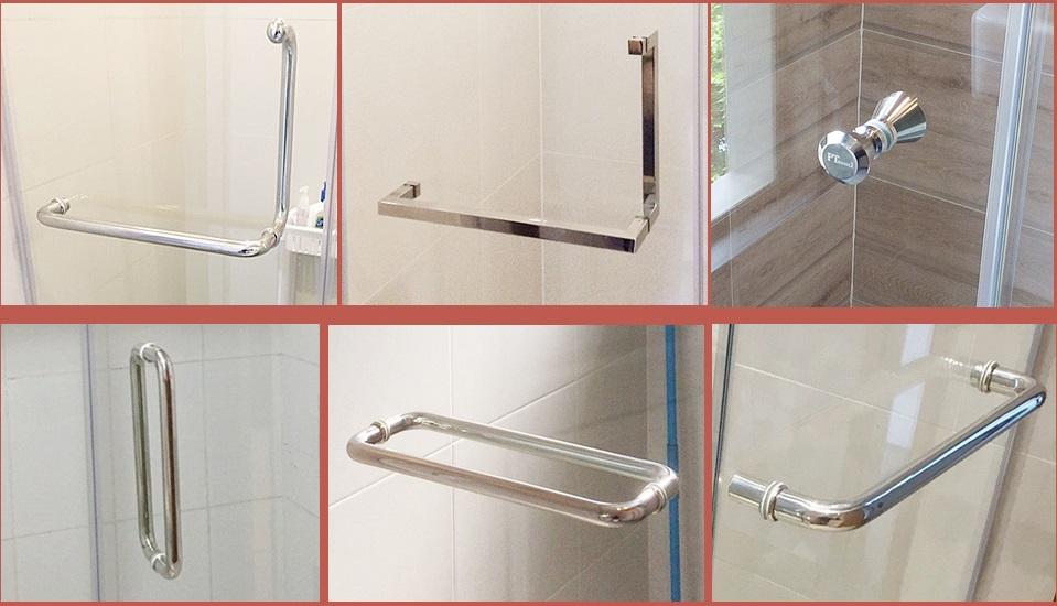 กระจกกั้นห้องน้ำและมือจับประตู
