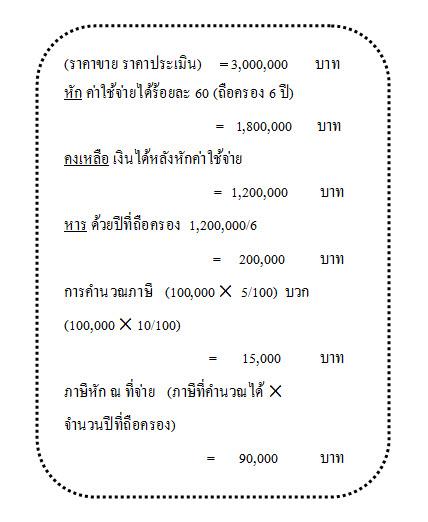 ต่อมาเราลองวิธีคำนวณภาษีตามวิธีที่ 2 ดูบ้างครับ คือ เงินได้  (ที่ไม่ใช่เงินเดือน) x 0.5%
