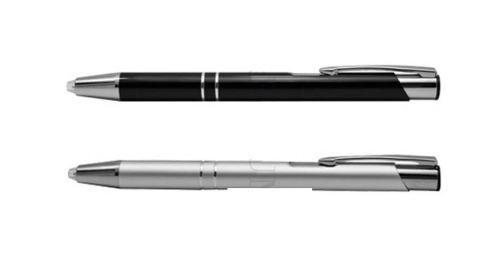 ปากกาโลหะ แบบไฟฉาย สีดำ สีเงิน  ,  ปากกาโลหะ ขนาดยาว 13.7ซม รอบ3.8 ซม