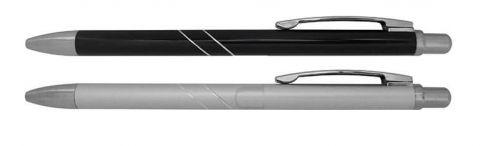 ปากกาโลหะ แบบกด คลิปสีเงิน,ปากกาโลหะ ปากกามีแถบเงินคาดเฉียง 2 เส้น,ปากกาโลหะ  ปลายด้ามกด ปลายด้ามปากกา คลิปหนีบปากกา เป็นสีเงินเงา