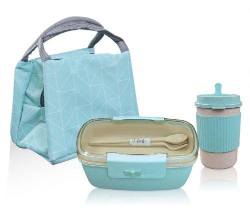 กระเป๋าฟอร์ยเก็บอุณหภูมิ)  กล่องข้าว + แก้วฟางข้าวสาลี