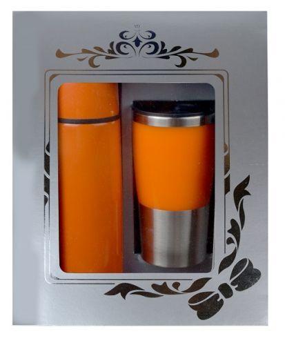 กล่อง ชุดกิฟท์เซ็ต,แก้วน้ำกระบอกน้ำ,ของขวัญปีใหม่,ชุดกิฟท์เซ็ตสีส้ม