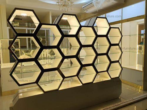 สีทอง ledวอมไวท์ ตู้รังผึ่ง หินอ่อน ตู้กระจก ชั้นวางแว่นตา ตู้โชว์แว่นตา ตู้กล่องไฟ หลังติดกระจกเงา