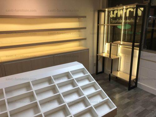 เฟอร์นิเจอ์ ร้านแว่นตา ตู้โชว์แว่น ไฟดาวไลท์ ไฟLED ชั้นวางแว่น เคาน์เตอร์ ตู้กระจก หลังกระจกเงา โรงงานเฟอร์นิเจอร์ ออกแบบตกแต่งร้านแว่น