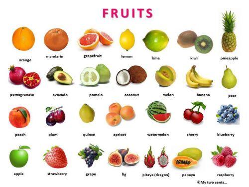 ศัพท์ภาษาอังกฤษ ผักและผลไม้