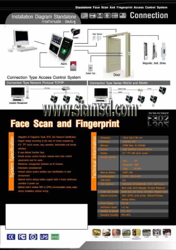 Facescan สแกนใบหน้า SSD F302