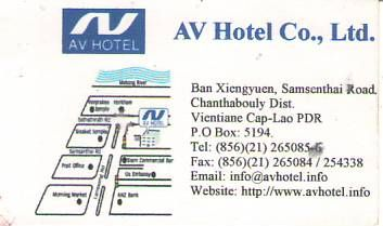 AV HOTEL CO.,LTD.-LAO PDR,Hotel in VientianeCapital,Sansenthai Road, Chanthabouly District,LAO Biz DIRECTORY,Business directory,ASEAN BUSINESS DIRECTORY,WWW.ASEANBIZDIRECTORY.COM
