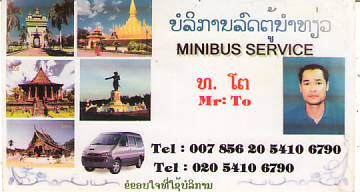 MINIBUS SERVICE-MR.TO-LAO PDR,LAO Minibus Service in Vientiane Capital and other  districts,LAO Business Directory