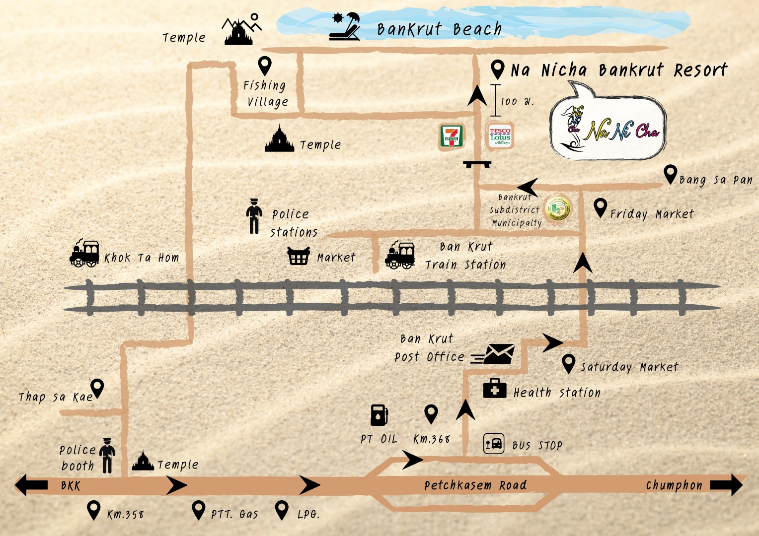 แผนที่ ณ นิชา บ้านกรูด รีสอร์ท