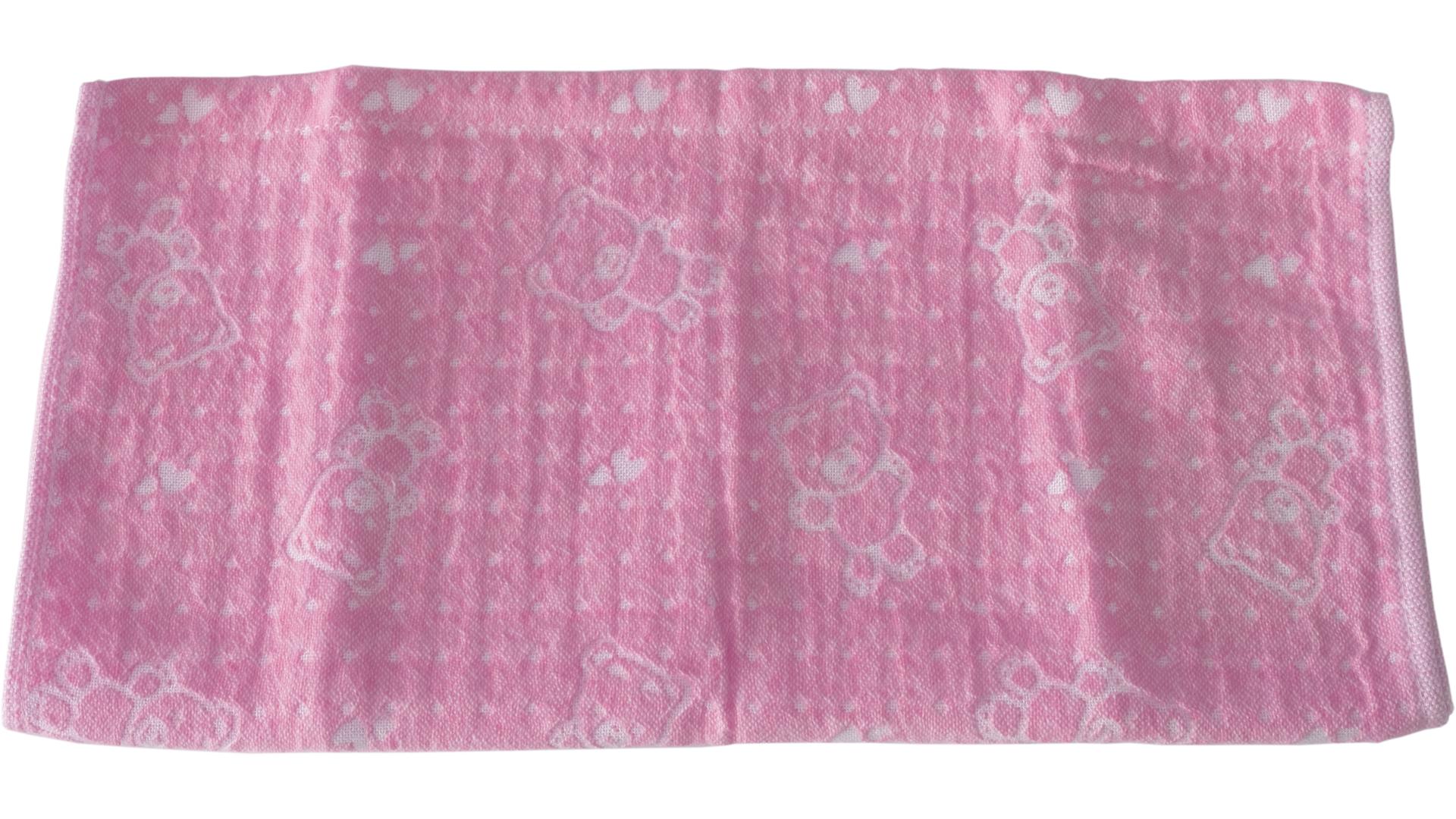 ผ้าเช็ดตัวเด็ก 34x76 ซม. สีชมพูอ่อน