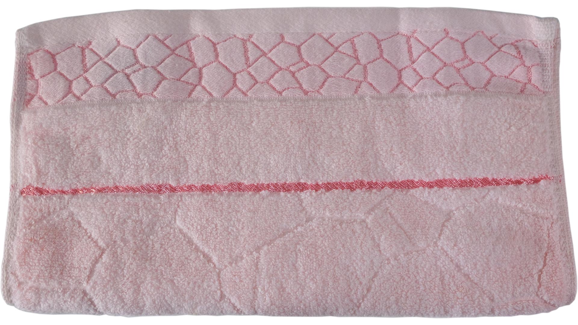 ผ้าขนหนู ผ้าเช็ดผม ผ้าเชํดมือ ฝ้ายไม่ตีเกลียว TCOT สีชมพู