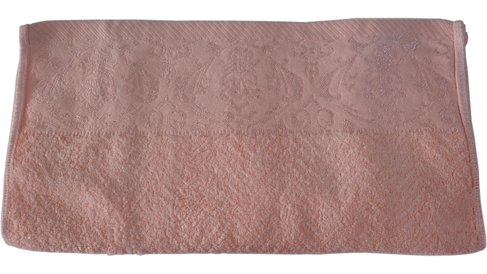 ผ้าขนหนูลายมงกุฎ Cotton 34x76 cm.สีชมพูโอรส
