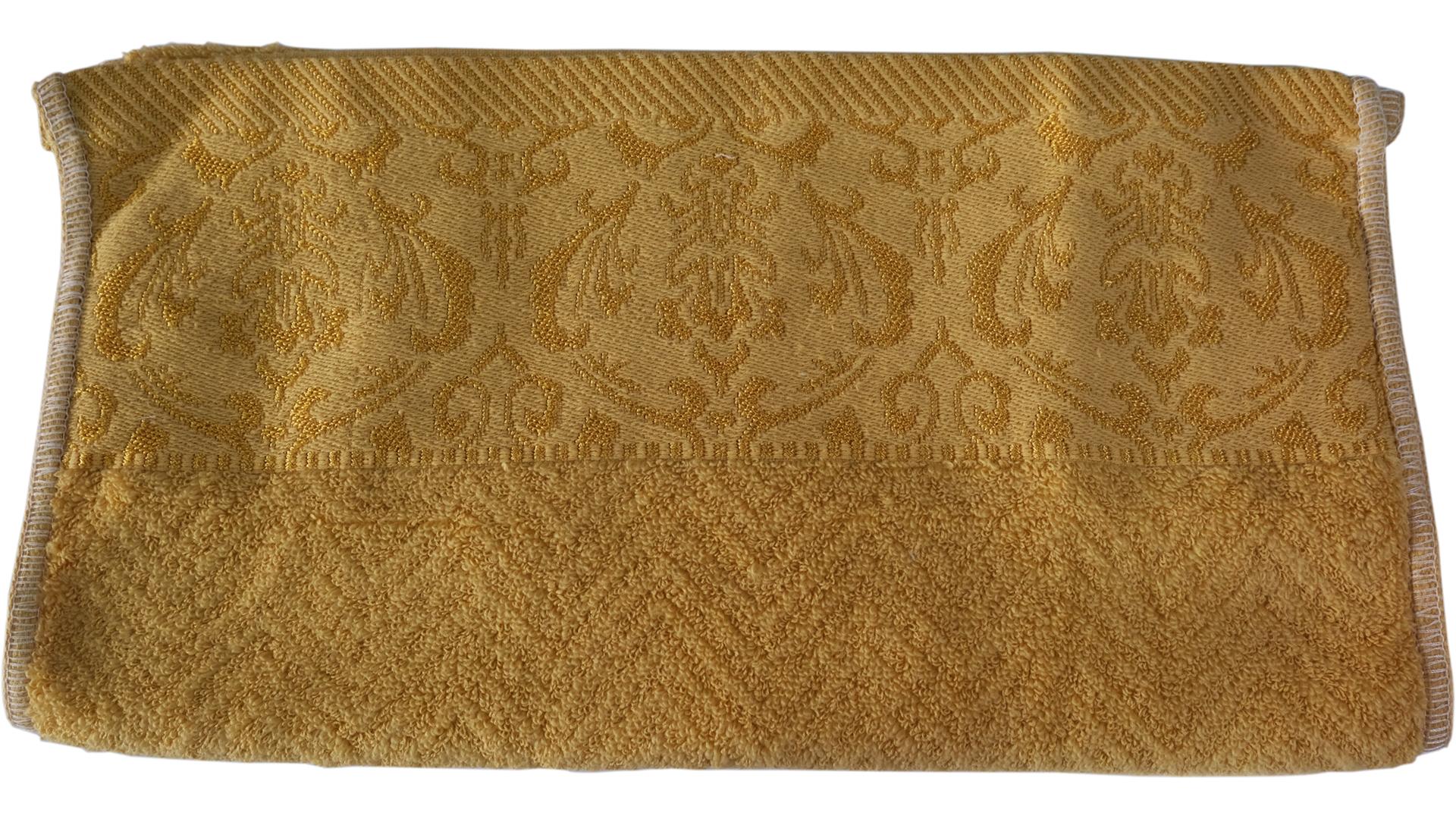ผ้าขนหนูลายมงกุฎ Cotton 34x76 cm. สีฟักทอง