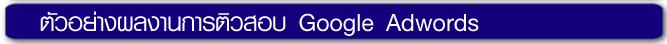 ตัวอย่างผลงานการติวสอบ หลักสูตร Google Adwords for Business